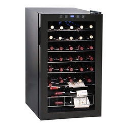Vinotemp - Butler Freestanding Touchscreen Wine Cooler - Made from glass. Black color. Holds upto 34 bottles. Includes control panel lock. 19 in. W x 18.5 in. D x 32.75 in. H (59 lbs.). Made in USA. Lead time: 3 to 5 days. Dual-pane tinted glass door with recessed handle. Touch screen control panel with blue LED display. Safety lock to disable control panel access. Adjustable temperature control. Six wire wine shelves. Sturdy wire shelf racking and small bulk storage section at bottom. Maintain optimum temperature. Interior light. Cabinet with brushed metal door. Temperature range: 40 - 65 degree F. Warranty. Winmate Cooling Installation Instructions