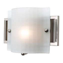 Access Lighting - Access Lighting Nara Modern / Contemporary Wall Sconce X-FKC/SB-11335 - Soothing poise is a topic of numerous conversations that will start in the presence of this contemporary wall pendant as a result of its clean design and delicate glow. The checkered frosted shade is fun and rad for your bedroom, bathroom, attic, cellar, lounge, living room, office, hall, dining room, den, apartment, basement, or bungalow. The brushed steel finish is shiny, smooth, and wicked rad.