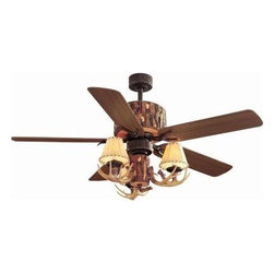 Hampton Bay - Indoor Ceiling Fans: Hampton Bay Lodge 52 in. Nutmeg Ceiling Fan YG098-NM - Shop for Lighting & Fans at The Home Depot. The Hampton Bay Lodge 52 in. Nutmeg Ceiling Fan is perfect for wilderness settings as an accent in log cabins or mountain homes with its tree-trunk housing design and antler light kit. The fan blades offer flexible design options with reversible pine and nutmeg finishes. The tan canvas light shades house three 40-watt bulbs for ample lighting and the convenient remote control allows you to dim the lights or adjust the fan setting from a distance. The powerful motor delivers sufficient air movement for spaces up to 20 ft. x 20 ft.
