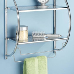 Home Decorators Collection - Shelves and Towel Rack - Our Shelves and Towel Rack unit creates extra space in your bathroom for towels, toiletries and more. This sleek, stylish shelf includes a towel bar to help keep your bathroom neatly organized. Easy to assemble. Chromed metal finish.