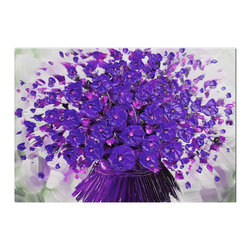 Matthew's Art Gallery - Oil Painting Modern Art on Canvas Contemporary Purple Flower bouquet - The Painting:  Purple Flower bouquet