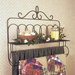 J & J Wire - J & J Wire Victorian Double Quilt Holder with Shelf - 639 - Shop for Caddies and Stands from Hayneedle.com! The custom design of the J & J Wire Victorian Double Quilt Holder with Shelf lets you proudly display two heirloom quilts on the double rods and an assortment of your favorite collectibles on the wide top shelf. Fully assembled and easy to hang this holder adds rustic cozy charm to any wall. Made in the USA by skilled craftsman this quilt holder is fabricated from durable welded wrought iron with the highest quality black powder-coat finish. About J & J Wire Inc.Located at the Industrial Park in Beatrice Nebraska J & J Wire Inc. started 25 years ago as a wire-forming business manufacturing mostly houseware items. Since then the company has grown into a metal fabrication business serving customers in many different manufacturing sectors in the United States and Canada. From quilt racks to wine racks J & J Wire is committed to creating handmade works of art at affordable prices.