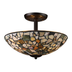 Elk Lighting - Trego 3-Light Semi-Flush with Multi-Colored Stone in Dark Rust - A random pattern of individually cut stone pieces combine for a richly textured mosaic design. When illuminated, soft warm hues of light are emitted through the stone while functional light emanates from the fixture. Choose from tea-stained or multi-colored stone in dark rust hardware, or tan stone with satin nickel hardware.