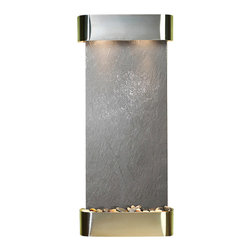 Adagio Water Features - Inspiration Falls Wall Fountain, Stainless Steel, Black Featherstone, Rounded Fr - Comes complete with polished river rock, halogen lighting, and electric pump.