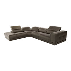 Nicoletti - Nicoletti Bilbao Brown Leather Sectional Sofa with Left Chaise - The Bilbao sectional sofa by Nicoletti will bring a remarkable accent into your living space. The sectional features adjustable headrests upholstered in genuine Italian leather for maximum comfort and relaxation.