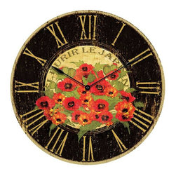Infinity Instruments - Infinity Instruments Le Jardin Red Poppy Wall Clock - Flowers With a Flourish. A French one, that is. The colorful, vintage-inspired Le Jardin Red Poppy Wall Clock from Infinity Instruments is bold in black and red, but feminine enough to include in a light-hued area, such as a bedroom with all-white linens. The open face is painted with abundant poppies and the slightly distressed face will take you away to a French country garden.... if only for a five-minute daydream. Open faceBlack metal handsPainted