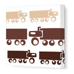 """Avalisa - Things That Go - Trucks Stretched Wall Art, 12"""" x 12"""", Brown Hue -"""