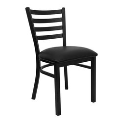 Flash Furniture - Flash Furniture Hercules Series Ladder Back Metal Chair in Black - Flash Furniture - Dining Chairs - XUDG694BLADBLKVGG - Provide your customers with the ultimate dining experience by offering great food service and attractive furnishings. This heavy duty commercial metal chair is ideal for Restaurants Hotels Bars Lounges and in the Home. Whether you are setting up a new facility or in need of a upgrade this attractive chair will complement any environment. This metal chair is lightweight and will make it easy to move around. For added comfort this chair is comfortably padded in vinyl upholstery. This easy to clean chair will complement any environment to fill the void in your decor. [XU-DG694BLAD-BLKV-GG]
