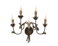 Kathy Kuo Home - Esme Wrought Iron Scroll 5 Arm Wall Sconces - Esme - Hand forged Iron arms and leaves with an Antique Brown finish with a touch of white support 5 twinkling lights in the Esme Wall Sconce.  Price marked is for a pair.