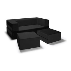 Jaxx Bean Bags - Jaxx Zipline Modular Loveseat and Fold Out Sleeper with Nesting Ottomans, Black - Completely unique, the Zipline Loveseat with two accompanying ottomans features a customizable mod design to enhance any room. With its 3-tiered multifunctional design, this loveseat creates the perfect layout for your space with the ability to customize it at the zipline of a wrist. Relax with a friend in the comfortable two-seat sofa with ottomans, or stack the ottomans inside for a large gaming table or seating pad. Even better, fold it out completely and rest on the comfy queen-size daybed. You can even stack one ottoman inside for a built in side-table or workstation while seated. The removeable covers feature stylish black zippers and are machine-washable. Available in 5 touchably-velvet twill colors, the Zipline Loveseat will complement your decor beautifully, and you have the freedom to change your space with individual covers available if you redecorate.