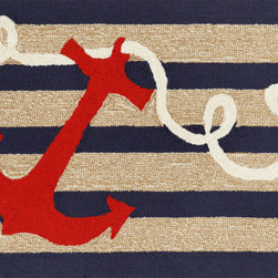 """Trans-Ocean - 24""""x36"""" Frontporch Anchor Navy Mat - Richly blended colors add vitality and sophistication to playful novelty designs.Lightweight loosely tufted Indoor Outdoor rugs made of synthetic materials in China and UV stabilized to resist fading.These whimsical rugs are sure to liven up any indoor or outdoor space, and their easy care and durability make them ideal for kitchens, bathrooms, and porches. Made in China."""