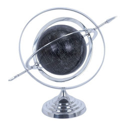 Benzara - Metal Globe with Attractive Concentric Circle Pattern - Marvelously designed to adorn your study table in style, this Aluminum Globe with Attractive Concentric Circle Pattern is a useful accessory for young and old alike. The very design and the globe placement involve extensive craftsmanship, and lend a sophisticated look to this learning aid. The stable circular base is designed with wavy circular patterns, and offers great balance to the globe. This circular base tapers to a pinpoint and holds the concentric circles supported by one another. The globe is securely placed in this concentric circular arrangement and recreates a fascinating outer space feel. You can map the exact location, and the latitudes and longitudes by adjusting these circles. The globe comes shaded with a dark background and has all the countries accurately mapped. There is an attractive arrow traversing through the globe covering all the circles. Made of superior quality aluminum material, this aluminum globe comes with high endurance to last for a long time..