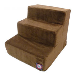 Majestic Pet Products - 3 Step Chocolate Micro-velvet Pet Stairs - Majestic Pet Products 3 Step Chocolate Micro-velvet Pet Stairs are perfect for dogs or cats suffering from joint problems, aging issues, hip dysplasia, arthritis or other disabilities. Majestic Pet Stairs will enable your dog or cat to navigate onto furniture, window sills or beds with ease. These stairs are made with a micro-velvet slipcover that zips off for easy cleaning and a 300/600 Waterproof Denier Base, which make them great for any surface.