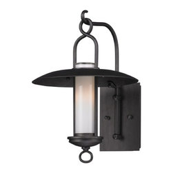 Troy Lighting - Outdoor Wall Light with White Glass in Graphite Finish - B3331 - Vintage / retro / industrial graphite 1 light outdoor wall light opal white glass shade. Takes (1) 60-watt incandescent flame bulb(s). Bulb(s) sold separately. UL listed. Wet location rated.