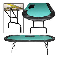 Trademark Global - Texas Holdem Table w Dealer Position & Remova - Casino-size table. Dealer position with tray. 9 Player positions. Built-in cup holders. Padded armrest. Padded felt top. Removable rails. Built-in money slot. Folding legs. Steel Reinforced Exterior Frame. 96 in. L x 42 in. W x 31.5 in. H (115 lbs.)This Texas Hold'em Table has a full set of bumper pads around the table. The pads are covered with a high grade mildew resistant Black vinyl. The table top is produced from a casino style high grade felt. The table top is padded to give the dealer and players the highest comfort level. This 96 inch version is the same size and style that is used in casino poker rooms around the world. It is also the same size as the one used on the Travel Channel and ESPN for their televised Texas Hold'em Poker tournaments! Under the table top is a reinforced metal frame for added stability and strength.