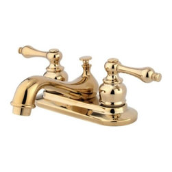 """Kingston Brass - Two Handle 4"""" Centerset Lavatory Faucet with Retail Pop-up KB602AL - The English Vintage . Collection embodies the essence of old style elegance with its unique bulky escutcheons and teapot spout. The hand levers are shaped narrow and are constructed in a classical theme to make your bathroom looking stylish and timeless.. Manufacturer: Kingston Brass. Model: KB602AL. UPC: 663370011702. Product Name: Two Handle 4"""" Centerset Lavatory Faucet with Retail Pop-up. Collection / Series: RESTORATION. Finish: Polished Brass. Theme: Contemporary / Modern. Material: Brass. Type: Faucet. Features: Drip-free washerless cartridge system"""