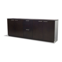 Zuri Furniture - Reagan Polished Walnut Filing Cabinet - A handsome and useful storage addition to any office, this beautiful piece will compliment your office and keep you organized. Pair it up with the Reagan Desk for maximum effect.