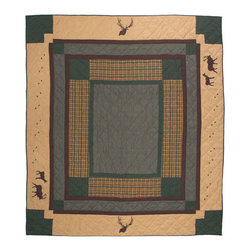 Patch Quilts - Elk Trail, Quilt Twin - Intricately appliqued and beautifully hand quilted. Machine washable, line or flat dry only. Patch Quilts - QTEKTR