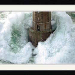 """Amanti Art - """"Phares dans la Tempete"""" Framed Print by Jean Guichard - Batten down the hatches! This famous scene by Jean Guichard will make you grateful for your own dry, safe surroundings. The dramatic print is great for your office or home."""
