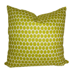 Chartreuse Lime Dots Pillow - Polka Dots get a modern update with the ikat dyeing technique on this Chartreuse Lime Dots Pillow. You will love how these look on your beach home sofa or chair.