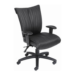 "BOSS Chair - Mid-Back Leather Office Chair In Black w Arms - Choose Option: Seat SliderSoftness and durability. Dacron Filled Cushions. Ratchet back height adjustment mechanism which allows perfect position of the back cushion and lumbar support. Adjustable tilt tension control. Adjustable seat and back angle. Adjustable height armrests with soft polyurethane pad. Large 27"" nylon base for greater stability. Hooded double wheel casters. Upright locking position. 3 paddle multi-function tilting mechanism which allows the seat and back to lock in any position throughout the tilt range. Pneumatic gas lift seat height adjustment. Optional seat slider (B750-SS). Cushion color: Black. Base/wood: Black. Seat size: 21 in. W x 19 in. D. Seat height: 19 in. - 22.5 in. H. Arm height: 24.5 in. - 30.5 in. H. Overall dimension: 30.5 in. W x 27 in. D x 37 - 42.5 in. H. Weight capacity: 250 lbs"