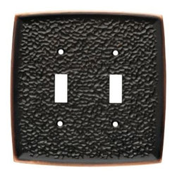 Liberty Hardware - Liberty Hardware 144032 Hammered WP Collection 5.2 Inch Switch Plate - A simple change can make a huge impact on the look and feel of any room. Change out your old wall plates and give any room a brand new feel. Experience the look of a quality Liberty Hardware wall plate. Width - 5.2 Inch, Height - 5.2 Inch, Projection - 0.28 Inch, Finish - Bronze W/Copper Highlights, Weight - 0.7 Lbs.
