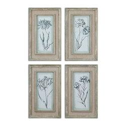 www.essentialsinside.com: aqua flowers framed art, set of 4 - Aqua Flowers Framed Art, Set of 4 by Uttermost, available at www.essentialsinside.com
