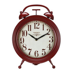 Old-Fashioned Red Table Clock - This red Old-Fashioned Red Table Clock not only keeps you on schedule, but adds a touch of vintage style to your d̩cor. Made with metal and featuring a cheerful red hue, it's both stylish and functional.