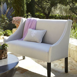 Horchow - Outdoor Upholstered Banquette - This elegant, handcrafted banquette is so pretty, it doesn't seem possible that it's intended for outdoor use. But it is made specifically to stand up to the elements, with its Georgia treated-wood frame and stain- and mold-resistant Sunbrella® acr...
