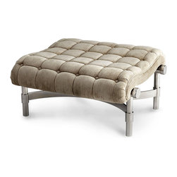 Mr. Winston Side Kick Ottoman - Boldly emphasized tufting and a subtly-striped light brown fabric make an antique statement in the Mr. Winston Side Kick, a small ottoman or boudoir seat with a look of downy comfort and a striking, almost industrial frame.  A polished addition to a room, this elegant piece can be paired with the Mr. Winston Chair or stand alone for casually upscale comfort.