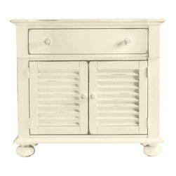 Stanley Furniture - Coastal Living Cottage-Summerhouse Chest - One drawer, two shutters and a coastal state of mind. Nestled bedside, its clean lines and crisp moldings play quiet counterpoint to soft linens and an early sunset. Doors conceal an adjustable shelf and enclosed electrical outlet.