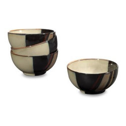 Sango - Sango Avanti Black 18-Ounce Ice Cream Bowls (Set of 4) - This modern dinnerware comes alive on your table with square and round shapes highlighting inviting earth tones. The stoneware pieces are enhanced with a gorgeous hand-brushed reactive glaze that gives each piece a striking presence on your table.