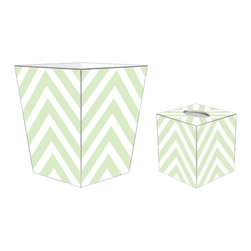 """Marye Kelley - Marye Kelley Mint Chevron Decoupage Wastebasket with Optional Tissue Box, 11"""" Sq - This is a handmade decoupage wastebasket with optional tissue box.  All items are handmade in the USA.  There are three different styles available.  There is the 12"""" Fluted Tin Design, the 11"""" Square Design with a flat top or the 11"""" Square design with a scalloped top.  Coordinating tissue boxes may also be made. Please note all items are custom made and may not be returned."""