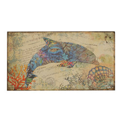 """Welcome Home Accents - Nautical wall art - """"Nautical wall art features a bottle nose dolphin. Corral, blue and cream complete the beachy feel. Hooks on back for easy hanging. Dust with a dry cloth. Made in China"""""""