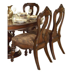 Homelegance - Homelegance Prenzo Side Chair in Brown - Home Elegance Prenzo Side chair gives a look of elegance that would be good fit in an apt in Manhattan or in on a ranch in Nevada. The back of the chair is high and has a comfortable shape for back support. The wood working and staining of these pieces portrays craftsmanship and elegance. The carving and design gives the appearance of baroque era royalty, yet it is still seen as a beautiful accent in fine dining rooms throughout the world.