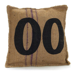 Vintage Sack Pillow #00 - Recreate your master bedroom with this nifty Vintage Sack Pillow 00 which will not only accent the decor of the room but will also offer supreme luxury of comfort and sound sleep. It comes with printed letters and elegantly threaded border. The fabrication of vintage burlap looks redolent of sublime old times.
