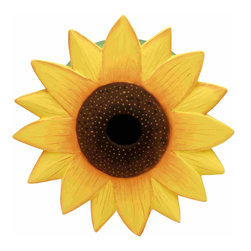 Songbird Essentials - Sunflower Birdhouse - Songbird Essentials adds color & whimsy to any garden with our beautifully detailed wooden birdhouses that come ready to hang under the canopy of your trees. Hand-carved from albesia wood, a renewable resource, each birdhouse is hand painted with non-toxi