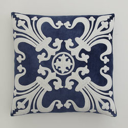 "Callisto Home - Callisto Home Navy Pillow, 22""Sq. - Hand-sewn and hand-embroidered bed linens showcase airy and intricate applique work in cream and navy. Made of linen and navy rayon velvet by Callisto Home. Imported. Dry clean. Cream linen dust skirt has split corners and a 20"" drop. Decorative pill..."