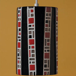 A-19 Lighting - Ladders Black Mini Pendant - Dark and dramatic, this mosaic ceramic mini pendant is individually slip-cast and meticulously crafted in America.  Its hand applied black, matador red, and smoke glazes have a gloss and depth of color that no other medium can capture.  Please note that it includes 6? of white cord and a matching canopy.   A-19 Lighting - PM20310-BL-WCC