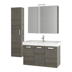 ACF - 37 Inch Grey Oak Bathroom Vanity Set - Made in Italy, this vanity set was designed by ACF in a contemporary style.