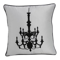 VIG - Modrest Transitional Black And White Print Throw Pillow, White - Modrest Transitional Black And White Print Throw Pillow