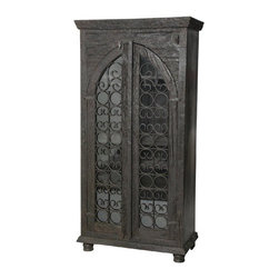 MOTI Furniture - Pampa Glass Front Door Tall Wine Cabinet - 95021006 - Pampa Collection Wine Cabinet
