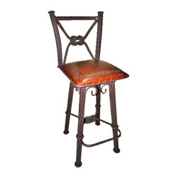 """New World Trading - Western Iron Classic Barstool (Set of 2) - Features: -Color: Antique Brown. -Material: Wrought iron. -Back with swivel. -Hand tooled leather. -Nailheads. -Made by artisans. -Saddle leather. -Made 1 at a time. -Original designs. -Reviving an ancient art. Specifications: -Bar H: 42"""". -Counter H: 38""""."""