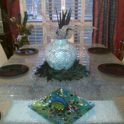 Shattered Glass Dining Table Top - This stunning glass dining table is Starphire® Clear Shattered Glass and measures 98 x 54 and is 3/4' thick.  Shipped from our studio in Palm Desert, California to Midland, Texas, this eye-catching table when viewed from different angles, gives the impression that you are looking at layers of sparkly diamonds!  Breath taking!