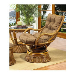 Boca Rattan - Biscayne Rattan Swivel Rocker w Cushion in Ro - Fabric: 957This indoor bamboo rocker was made with comfort in mind. The wicker and bamboo frame swivels for added support and the ultra plush cushion is perfect for lounging. Features an oak finish that will coordinate with virtually any décor. Cushion included. Indoor use only. Leather bindings. Constructed from strong and durable rattan. 28 in. W x 30.5 in. L x 38 in. H (40 lbs.)