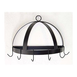 Grace Collection - Half Dome Wall Mount Pot Rack (Aged Iron) - Finish: Aged IronThis decorative and versatile pot rack can save you space and add a touch of style and class to your kitchen.  Easily mounted on your wall, this half dome pot rack has a sturdy steel frame that comes in your choice of 8 finishes, and 6 hooks for holding pots, pans, and utensils. * Wall mounted. Made from wrought iron. Half round shape. 20 in. W x 10 in. D x 13 in. H (11 lbs.). Includes six hooks. 0.18 in. cold rolled steel hanging hooks. 1.5 in. flat stock rim and dome. Heavy weight high grade steel support strapsThe design affords easy access on any wall.