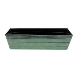 Galvanized Tin Window Box - The Galvanized Tin Window Box has a powder-coated verdigris finish that creates a beautifully aged look that won't develop unevenly the way natural copper patina can. Complete with drain holes for direct planting.About ACHLA DesignsThis item is created by ACHLA Designs. ACHLA is a garden accessories company that emphasizes unique wood and hand-forged, wrought iron European furnishings for the home and garden. ACHLA Designs continues to add beautiful and unique items year after year, resulting in an unusually large product line. All ACHLA products are stocked in the company's warehouse for year-round, prompt shipping. ACHLA Designs takes great pride in offering exceptional products and customer service.
