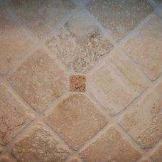 Traditional  Tumbled marble backsplash