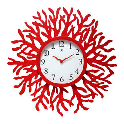 Infinity Instruments, Ltd. - The Reef Clock - Infinity Instruments The Reef is a red coral designed wall clock with matching red hands.  A unique home décor designed that would be great with an ocean themed décor.