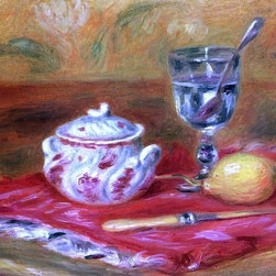 """Pierre Auguste Renoir Still LIfe with Glass and Lemon   Print - 18"""" x 24"""" Pierre Auguste Renoir Still LIfe with Glass and Lemon premium archival print reproduced to meet museum quality standards. Our museum quality archival prints are produced using high-precision print technology for a more accurate reproduction printed on high quality, heavyweight matte presentation paper with fade-resistant, archival inks. Our progressive business model allows us to offer works of art to you at the best wholesale pricing, significantly less than art gallery prices, affordable to all. This line of artwork is produced with extra white border space (if you choose to have it framed, for your framer to work with to frame properly or utilize a larger mat and/or frame).  We present a comprehensive collection of exceptional art reproductions byPierre Auguste Renoir."""